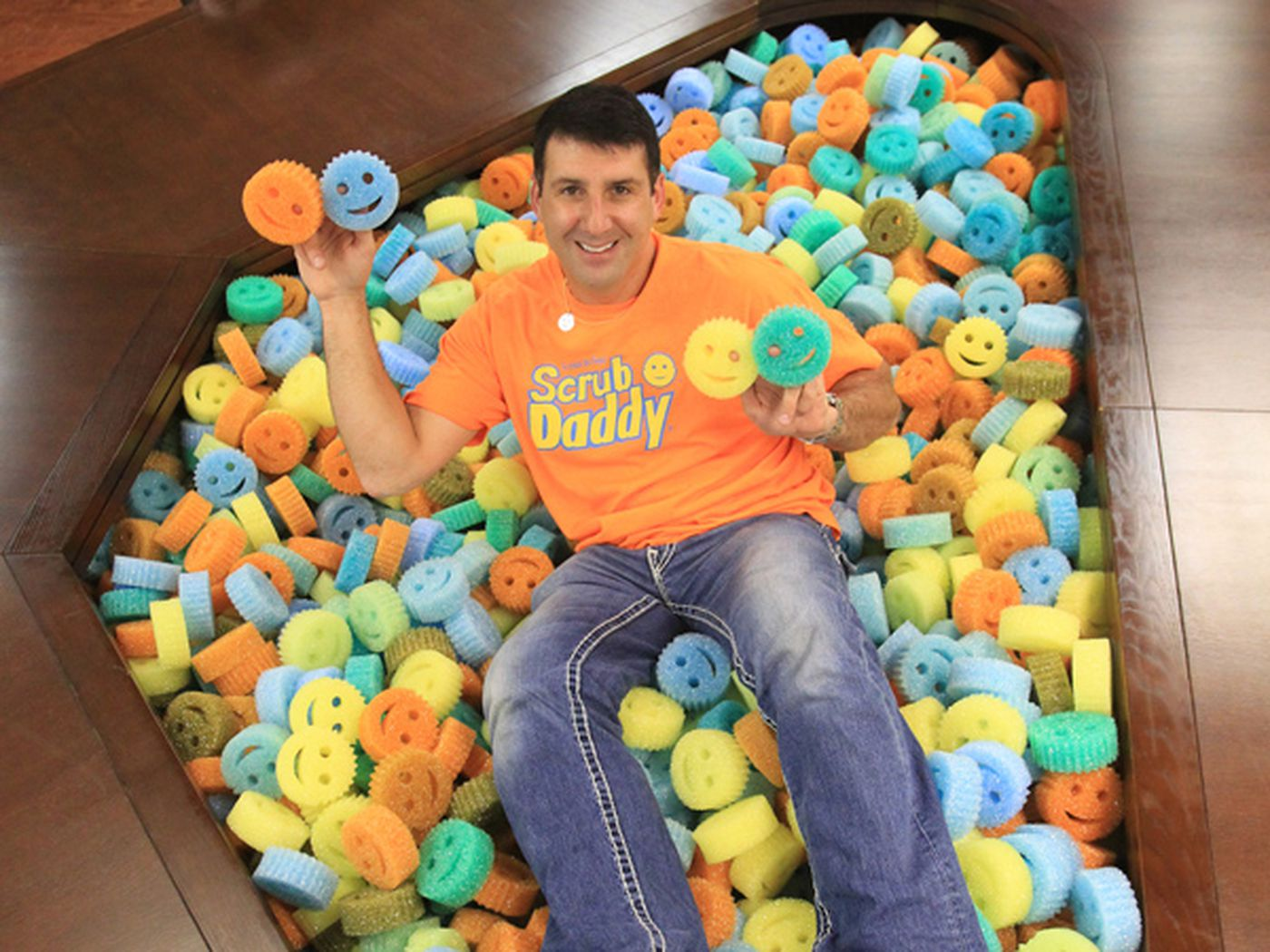 """Scrub Daddy creator President and CEO Aaron Krause was on the road to megamillions since landing one of the sharks of ABC's """"Shark Tank"""" as a partner. Krause moved manufacturing back to Delaware County from Germany. (CHARLES FOX/Staff Photographer)"""