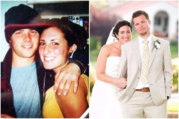 Harrison Lowry and Tina Lowry, left: she was Tina DiFerdinando when they met in 2001. Right, the Lowrys at their wedding. The two began their relationship on AIM, which is shutting down Friday.