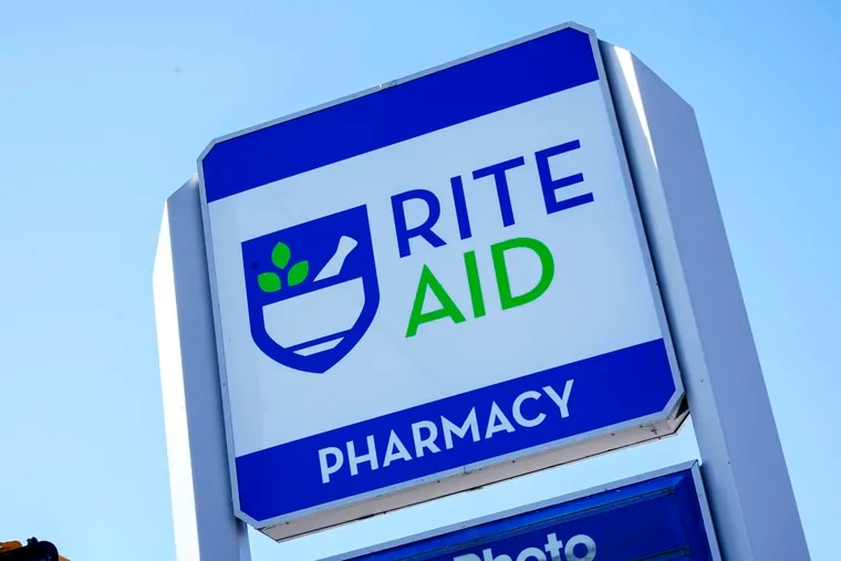 Rite Aid pharmacies are among those that can be searched for COVID-19 vaccine appointments through findashot.org. This is the sign outside a Rite Aid store in McKeesport, Pa.