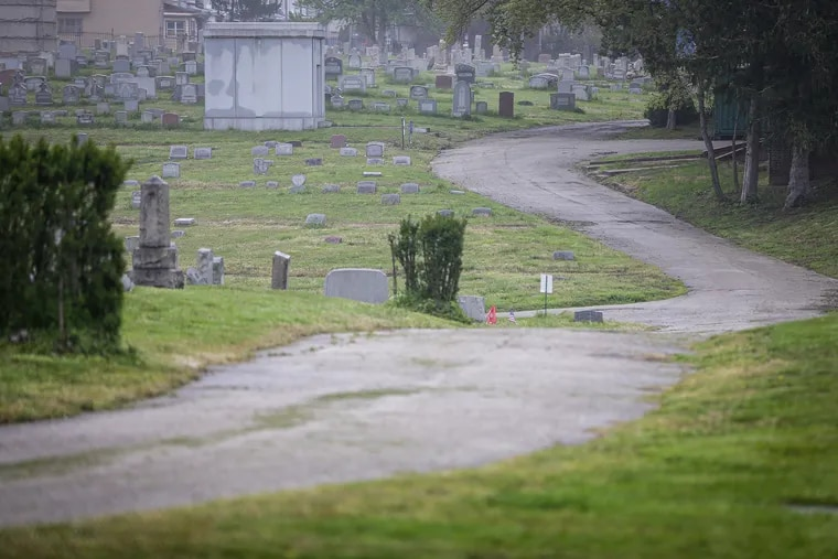 Mount Moriah Cemetery in Southwest Philadelphia, where the bodies of two men were found in a crypt April 3.