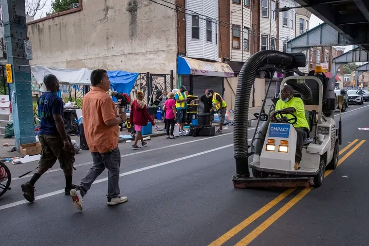 The City of Philadelphia, Police and social services are along Kensington Avenue near Willard Street on Wednesday morning August 18, 2021, clearing the streets of homeless in the center of the opioid epidemic in the city.