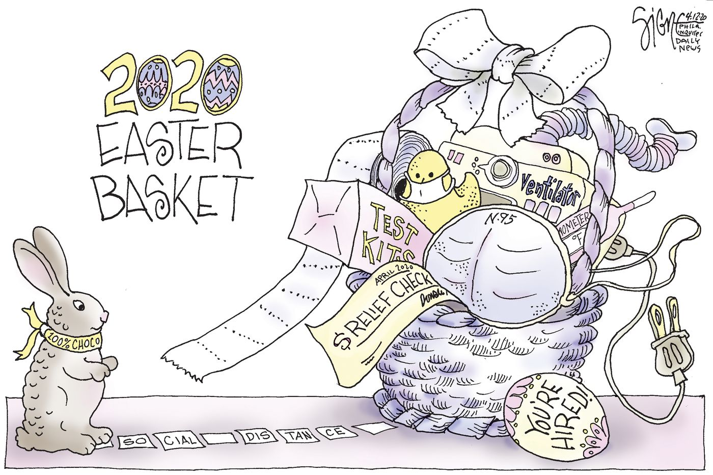 Political Cartoon: 2020 Easter Covid-19 Basket