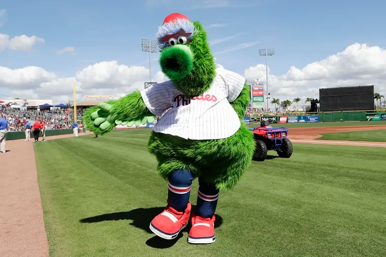 The Phillie Phanatic before the Phillies play the Pittsburgh Pirates in a spring training game at Spectrum Field in Clearwater, Florida on Sunday.