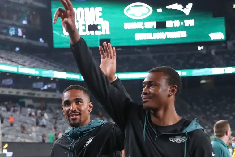 The Eagles' new era has arrived: quarterback Jalen Hurts rookie wide receiver and first-round draft pick DeVonta Smith leave the field together after the final preseason game.