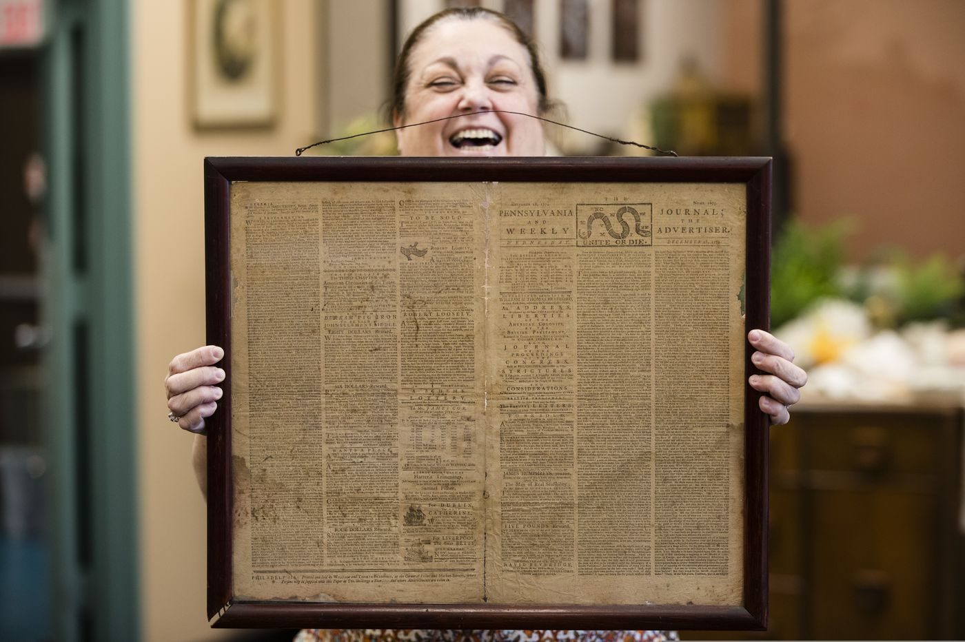 Original 1774 Phila. newspaper, found at Goodwill, heads to library