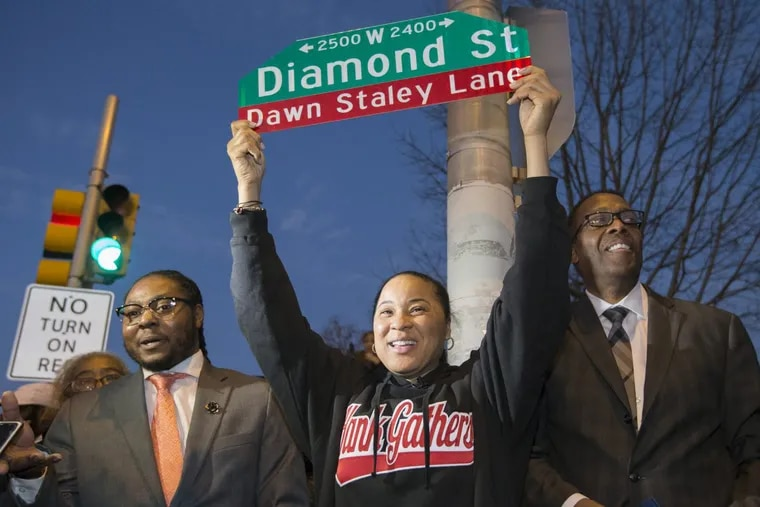 A portion of W. Diamond St, from 23rd St to 25th St., was renamed Dawn Staley Lane as Dawn Staley Day was celebrated at the Hank Gathers Recreation Center on Dec. 20, 2017. Her national championship South Carolina team will play Temple tomorrow.