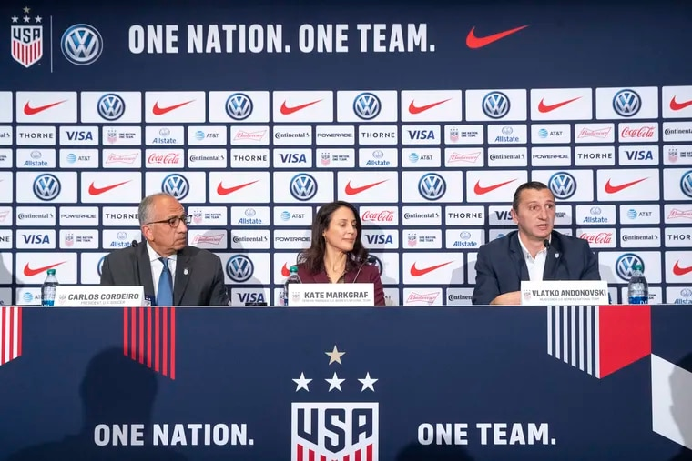From left to right: U.S. Soccer Federation president Carlos Cordeiro, women's national team general manager Kate Markgraf, and new women's team head coach Vlatko Andonovski.