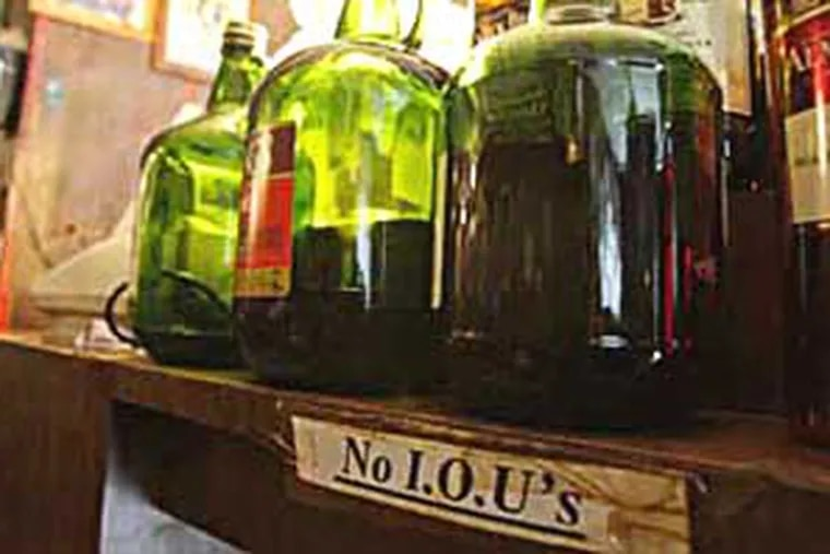 Bottles of alcohol sit on a shelf behind the bar inside Cheers in Upper Darby on May 19, 2010. ( David Maialetti  /  staff photographer )