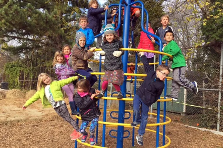Kids on recess at Zane North Elementary School in Collingswood. They are second-graders in Kathy Joyce's class.