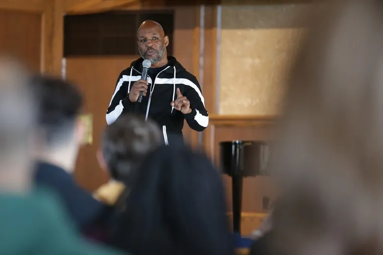 World Champion boxer Bernard Hopkins talks to students at the Y.A.L.E. School in Cherry Hill, NJ on February 13, 2018. DAVID MAIALETTI / Staff Photographer