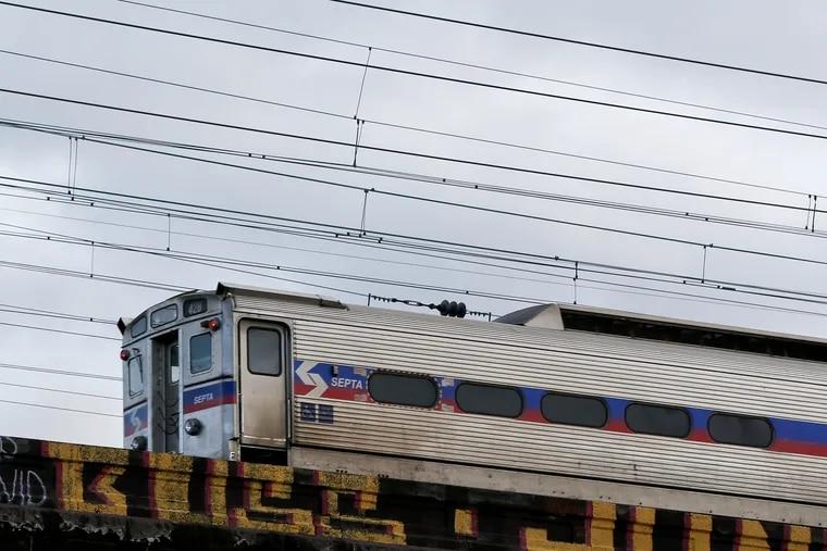 A SEPTA regional rail train crosses over the Schuylkill in Philadelphia.