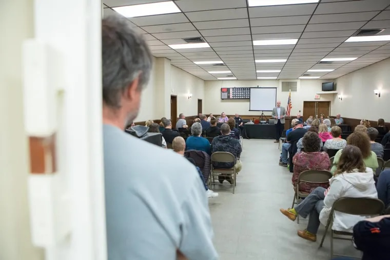 Residents of Mount Wolf, Pa., gather to listen to York County's opioid task force discuss how the county is combating the epidemic.