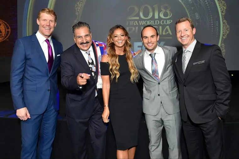 Fox Sports soccer broadcasters (from left to right) Alexi Lalas, Fernando Fiore, Kate Abdo, Landon Donovan and Rob Stone.