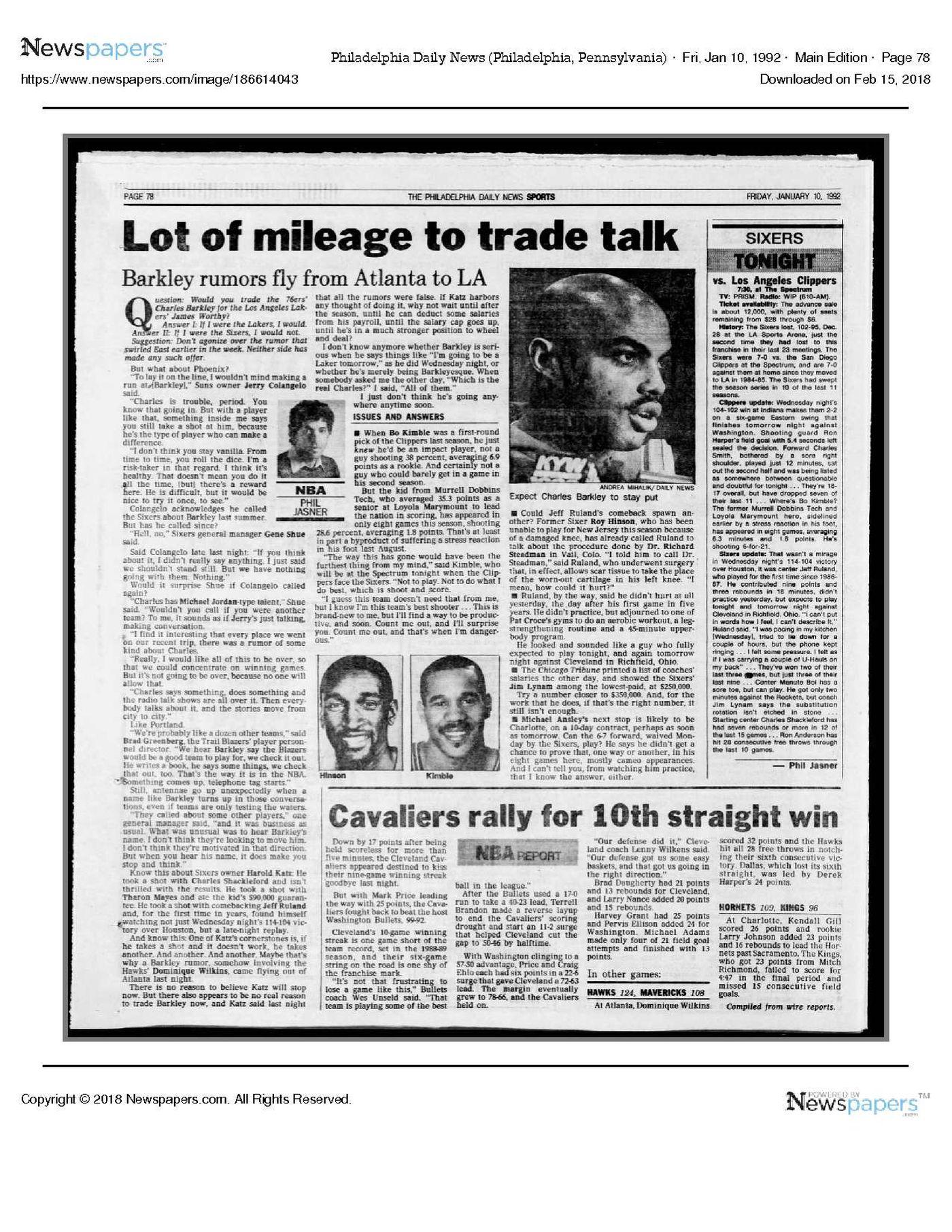 ebfb11d19388 Rumors followed Charles Barkley throughout the 1991-92 season