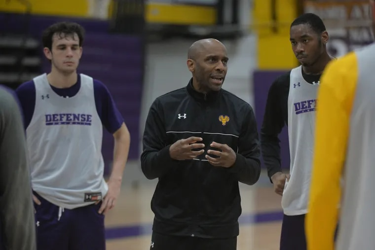 West Chester University basketball coach Damien Blair at a practice in 2018.