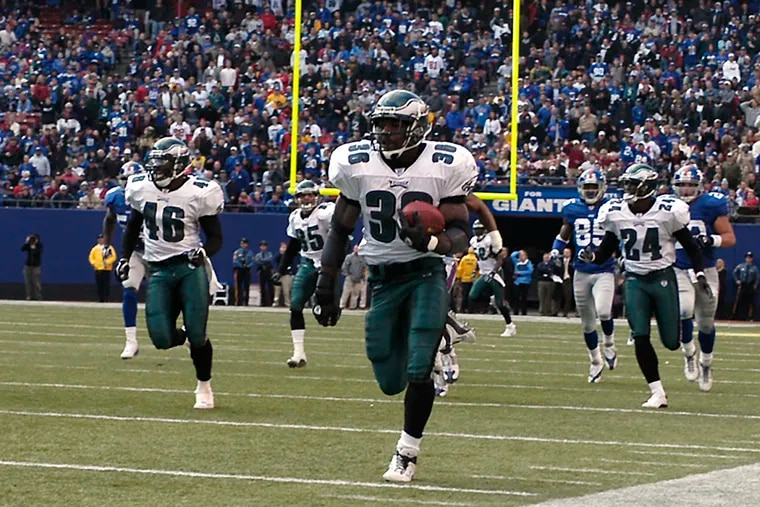 Brian Westbrook, running back a punt for the game-winning touchdown against the Giants on Oct. 19, 2003.