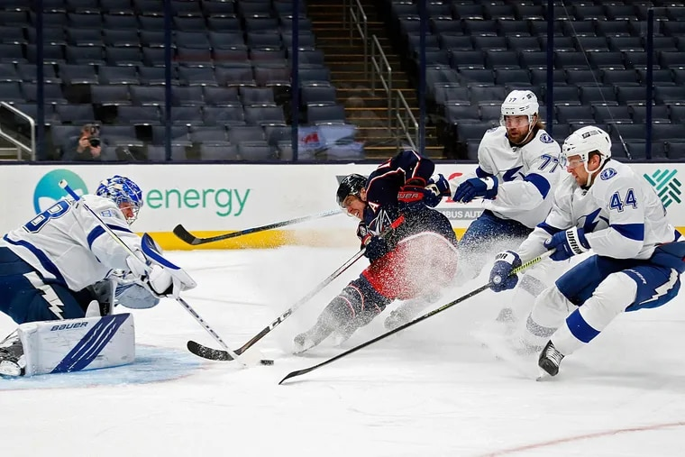 Cam Atkinson (center) was a two-time All-Star for the Columbus Blue Jackets. His acquisition for Jake Voracek was part of a furious week of dealing by Flyers general manager Chuck Fletcher.