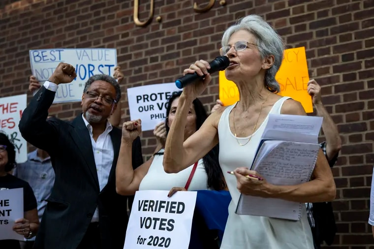 In this 2019 file photo, Jill Stein rallies supporters outside the federal courthouse in Philadelphia in her push to have the city's voting machines decertified.
