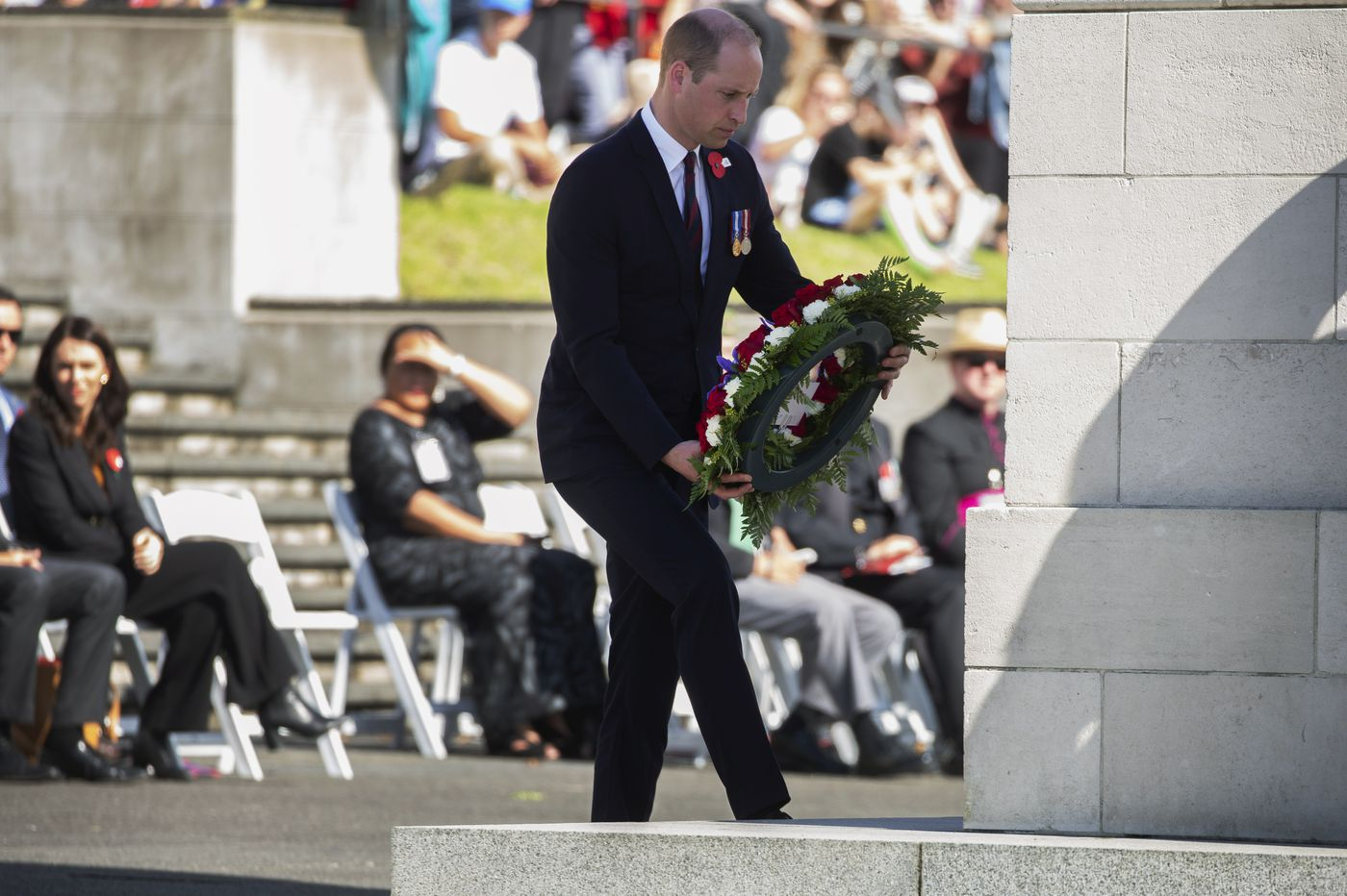 Prince William lays Anzac wreath, later to visit New Zealand mosques