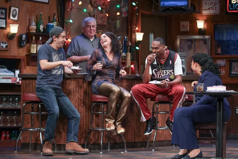 """(Left to right:) Matteo Scammell, Rich Hebert, Suli Holum, Walter DeShields, and Kimberly S. Fairbanks in """"Sweat,"""" through Nov. 4 at the Philadelphia Theatre Company, Suzanne Roberts Theatre."""