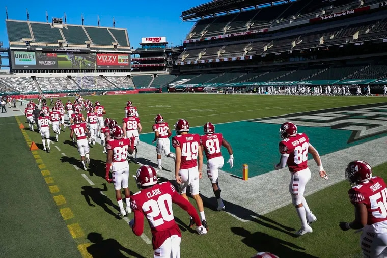The Temple football team takes the field for their first home game of the season against USF at Lincoln Financial Field on Saturday, Oct. 17, 2020.