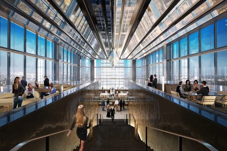 In a rendering, the view from the 60th-floor SkyHigh Lounge down the stairs to Jean-Georges restaurant on the 59th floor at the Four Seasons Hotel.