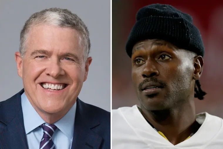 NBC Sports' Peter King (left) was among a handful of sports reporters who were duped by a fake tweet claiming Oakland Raiders wide receiver Antonio Brown was retiring.