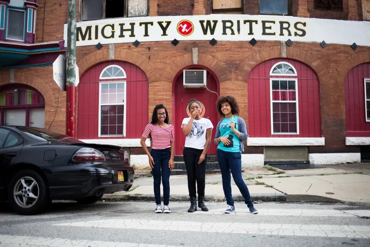 Mighty Writers participants pose outside of one of the free workshop's locations. Mighty Writers is planning on opening a new location in Camden, New Jersey this summer.