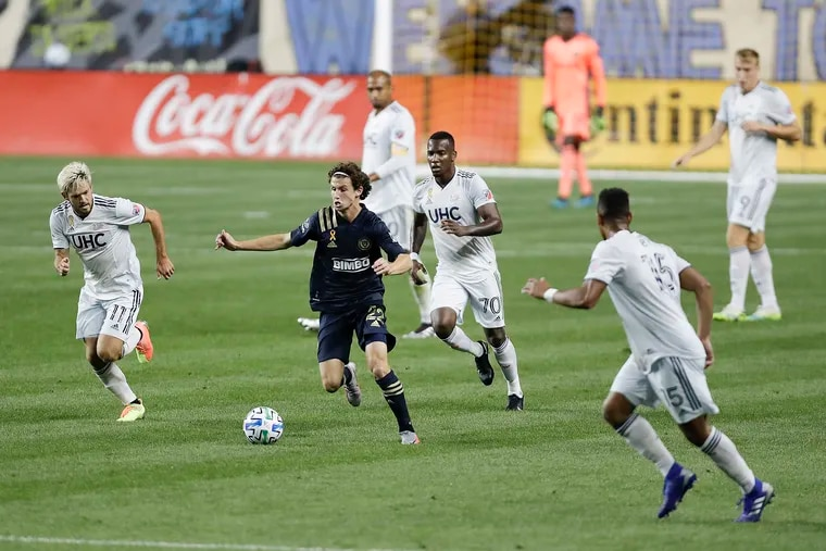 Union midfielder Brenden Aaronson (22) will play with the U.S. national team in Wednesday's game against El Salvador, then move to Austria's Red Bull Salzburg in January.