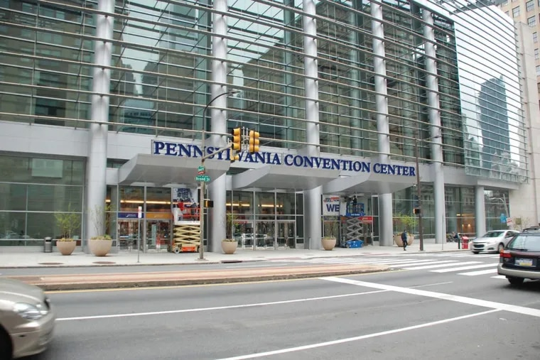 An architects' rendering of the planned new sign for the North Broad Street entrance of the Pennsylvania Convention Center, which currently has no sign.