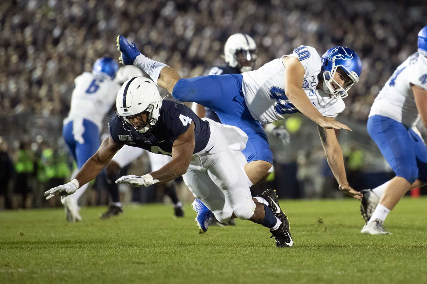 John Reid's pick-6 sparks a 28-point third quarter and carries Penn State to a 45-13 win over Buffalo