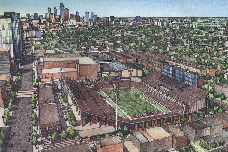 Temple University's latest stadium design includes classrooms along Broad Street. The bowl was sunk slightly below grade in an attempt to keep the building from overwhelming the rowhouse neighborhood.