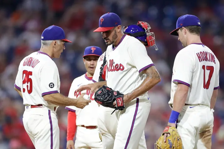 Phillies pitcher Zach Eflin gets pulled by Manager Joe Girardi during the fourth inning against the Miami Marlins during Game 2 of a doubleheader on Friday, July 16, 2021.