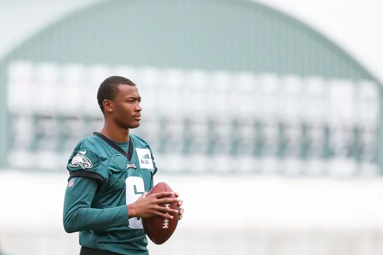 Eagles wide receiver DeVonta Smith (on the sideline during training camp at the NovaCare Complex. Smith will be out 2-3 weeks with an MCL sprain.