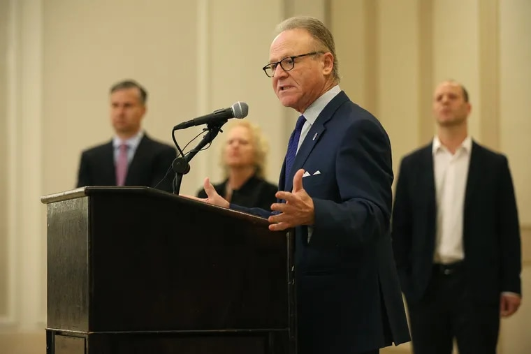 Moshe Porat, former dean of Temple University's Fox School of Business, speaks during a news conference announcing a $25 million defamation lawsuit against the university at the Hilton hotel on City Avenue in Philadelphia on Thursday, May 2, 2019. Porat is suing Temple and university President Richard Englert over their statements on Porat's firing in the aftermath of a school ranking scandal last year.