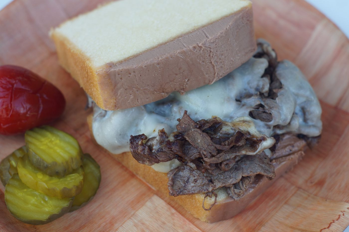 What's better than pound cake? Pound cake with a cheesesteak on top.