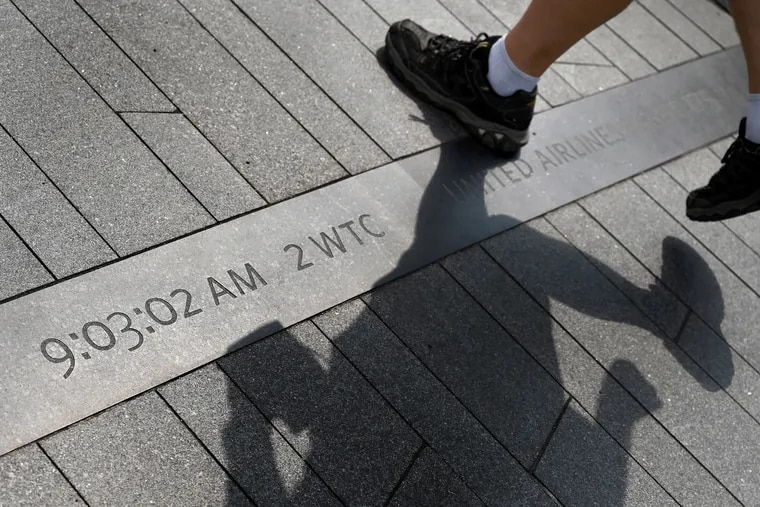 The time - 9:03:02 A.M. - that United Airlines Flight 175 crashed into Tower Two (the South Tower) of the World Trade Center is embedded in the walkway at the Flight 93 National Memorial near Shanksville, Pa. Four time line markers chronicle the exact moment each of the four hijacked aircraft crashed on 9/11.