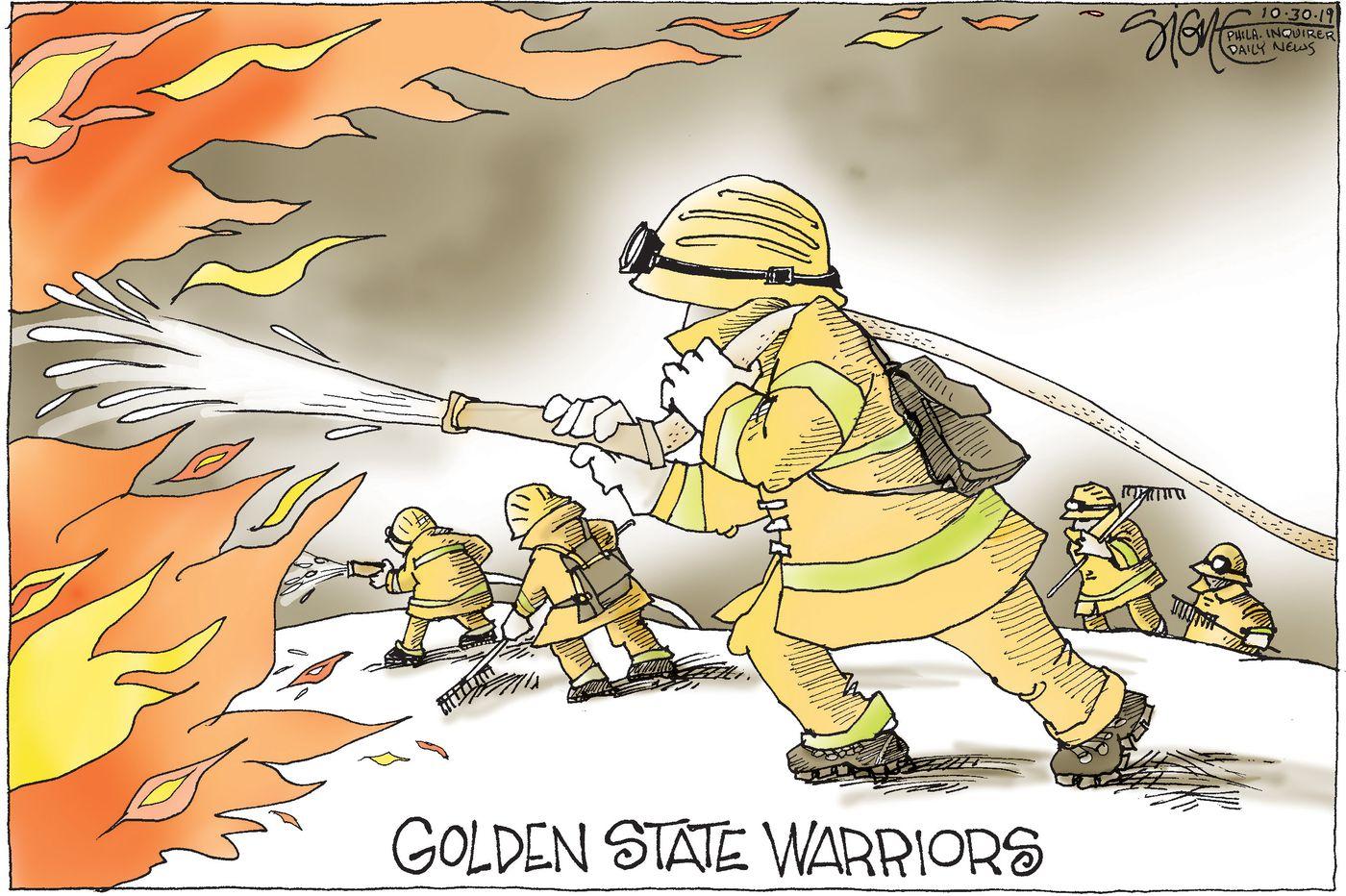Political Cartoon: Golden State Warriors California firefighters