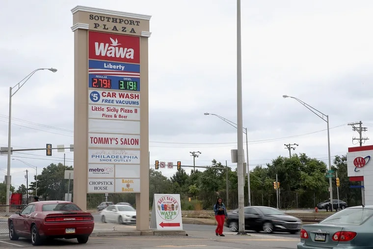 A vacant lot (rear) that developer Bart Blatstein hopes to turn into a Wawa gas station is pictured at South Christopher Columbus Boulevard and Tasker Street in South Philadelphia on Friday, Sept. 13, 2019.