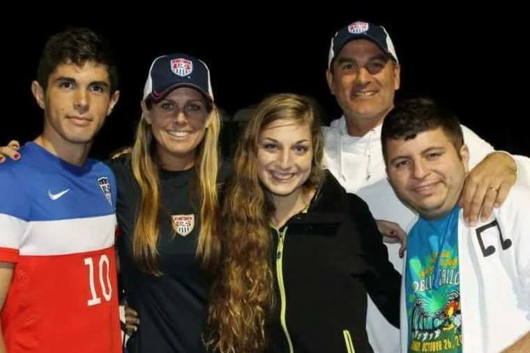 Christian Pulisic (left) with his family: mother Kelley, sister Devyn, father Mark, and brother Chase. At 17, Christian plays with one of Germany's top pro teams and on the U.S. national team.