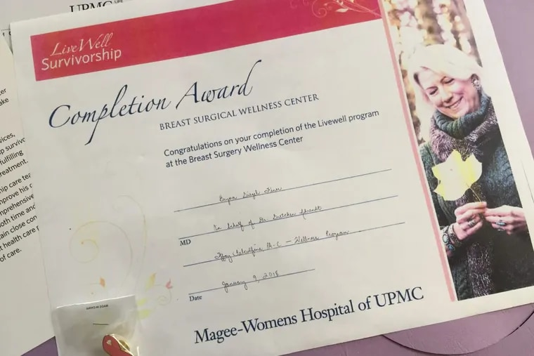 The author received this certificate to mark five years cancer-free.