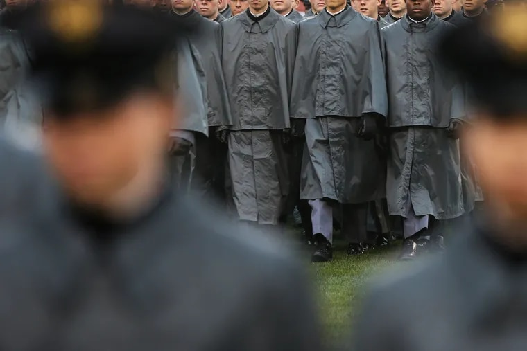 Army cadets march onto the field before the 120th annual Army-Navy game at Lincoln Financial Field in South Philadelphia on Saturday, Dec. 14, 2019.