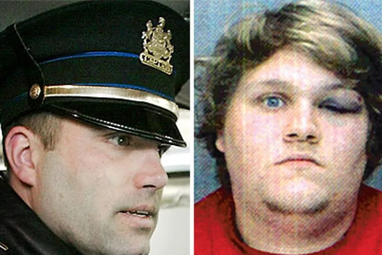 Easton Police Capt. Michael Vangelo (left) says Matthew Clemmens (right)  intentionally vomited on his family during a Phillies game.