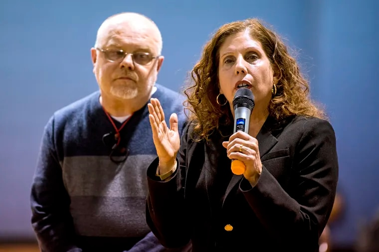 Ronda Goldfein (right), executive director of the AIDS Law Project of Pennsylvania and vice president of Safehouse, speaks with Jose Benitez (left), executive director of Prevention Point and Safehouse's president as they answer questions during a meeting of the Harrowgate Civic Association, at the Heitzman Recreation Center on April 4, 2019. The Kensington neighborhood is grappling with the knowledge that Safehouse could be the city's first safe injection site and is going to be in their backyard.