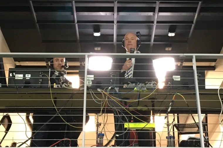 New ESPN Major League Soccer play-by-play announcer Jon Champion (center) surveys the scene at D.C. United's Audi Field during his first game broadcast of the 2019 season.