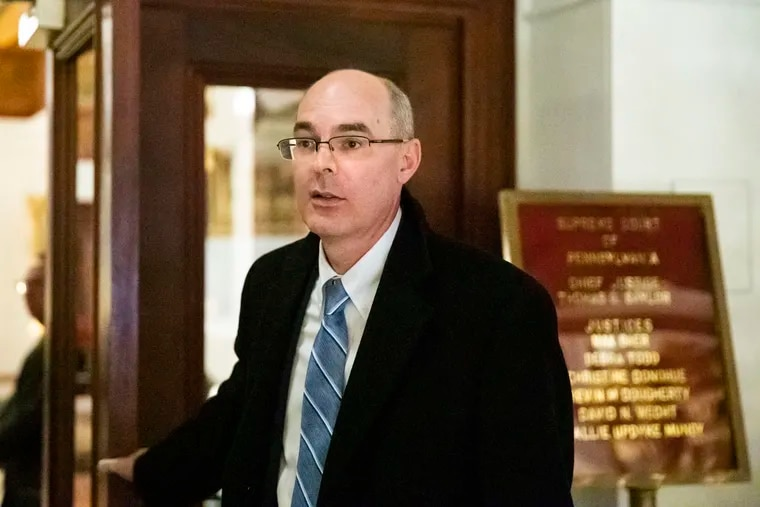 Former state prosecutor Frank Fina, departing after oral argument before the Pennsylvania Supreme on his disciplinary  case last year.