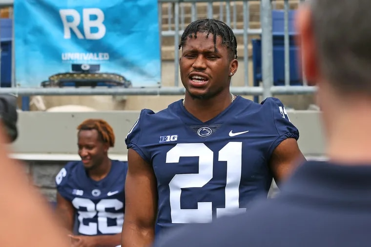 Penn State running back Noah Cain (21) during the team's Media Day on Aug. 7.