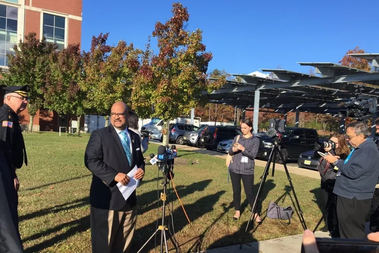 Atlantic County Prosecutor Damon G. Tyner addresses the media Thursday outside the county criminal justice facility following the capture in Atlantic City of the fourth teen – who is charged with murder – that escaped from a juvenile detention center early Wednesday morning.