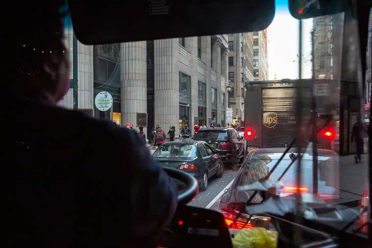 Philadelphia's Chestnut Street buses can hardly move because of growing congestion. Ride-sharing vehicles and delivery trucks frequently block the bus lanes.