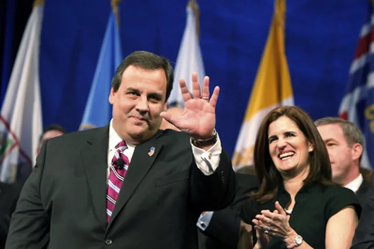 Mary Pat Christie applauding husband Chris during his swearing-in as governor last year. (Mel Evans / Associated Press)